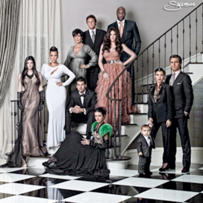 look back at decades of kardashian jenner christmas cards on kardashians e news